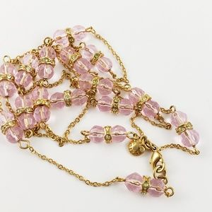 J. Crew Sweater Necklace Pale Pink and Gold